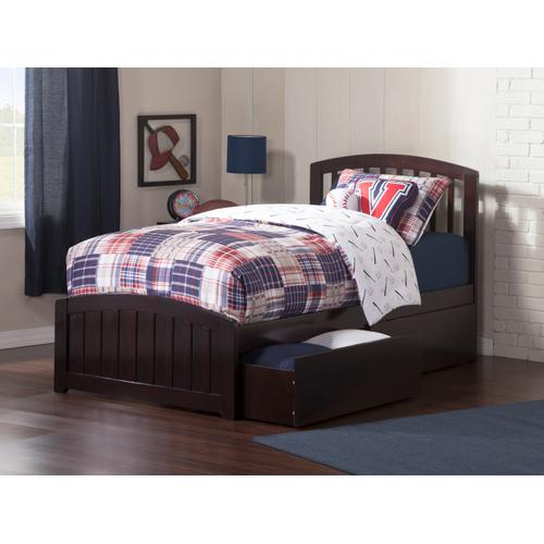 Atlantic Furniture - Richmond Twin XL Bed with Matching Foot Board with 2 Urban Bed Drawers in Espresso