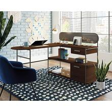 Modern Metal and Wood L-Shaped Desk