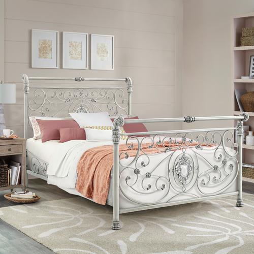 Gallery - Mercer Metal King Sleigh Bed, Brushed White