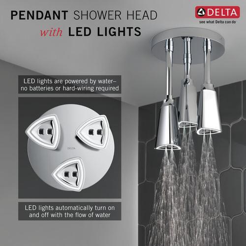 Black Stainless H 2 Okinetic ® Pendant Raincan Shower Head with LED Light