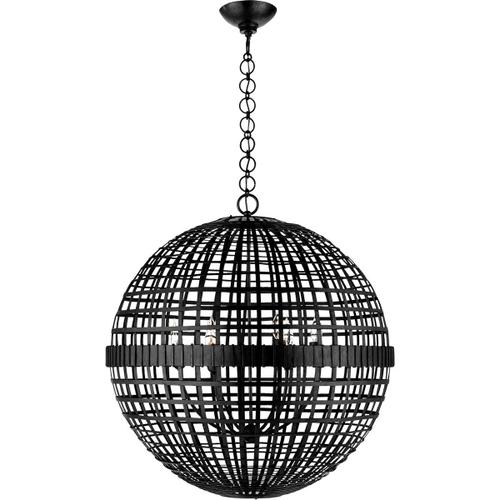 AERIN Mill 6 Light 30 inch Aged Iron Globe Lantern Ceiling Light, Large