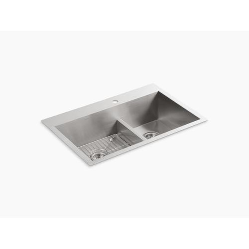 """33"""" X 22"""" X 9-5/16"""" Smart Divide Top-mount/undermount Large/medium Double-bowl Kitchen Sink With Single Faucet Hole"""