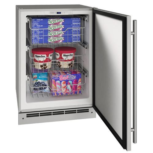 """U-Line - 24"""" Convertible Freezer With Stainless Solid Finish (115 V/60 Hz Volts /60 Hz Hz)"""