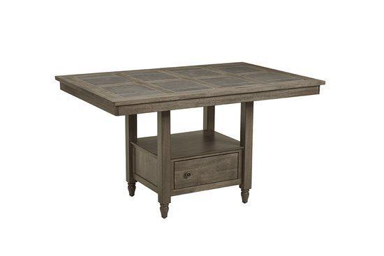 Tile Counter Table with Storage - Catalina Graystone Finish