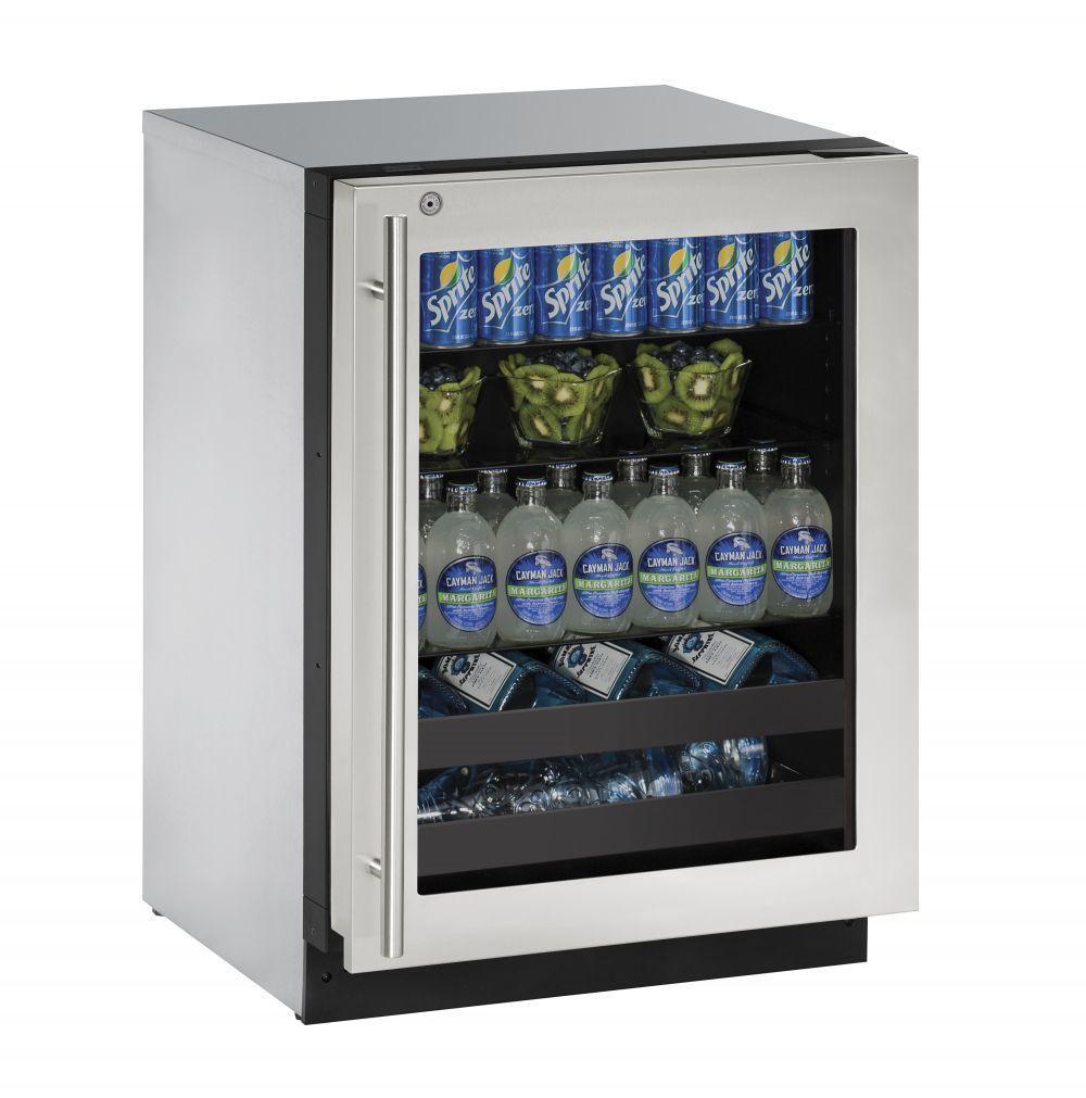 "U-Line2224bev 24"" Beverage Center With Stainless Frame Finish And Right-Hand Hinge Door Swing (115 V/60 Hz Volts /60 Hz Hz)"