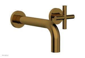TRANSITION - Single Handle Wall Lavatory Set - Cross Handles 120-15 - French Brass Product Image