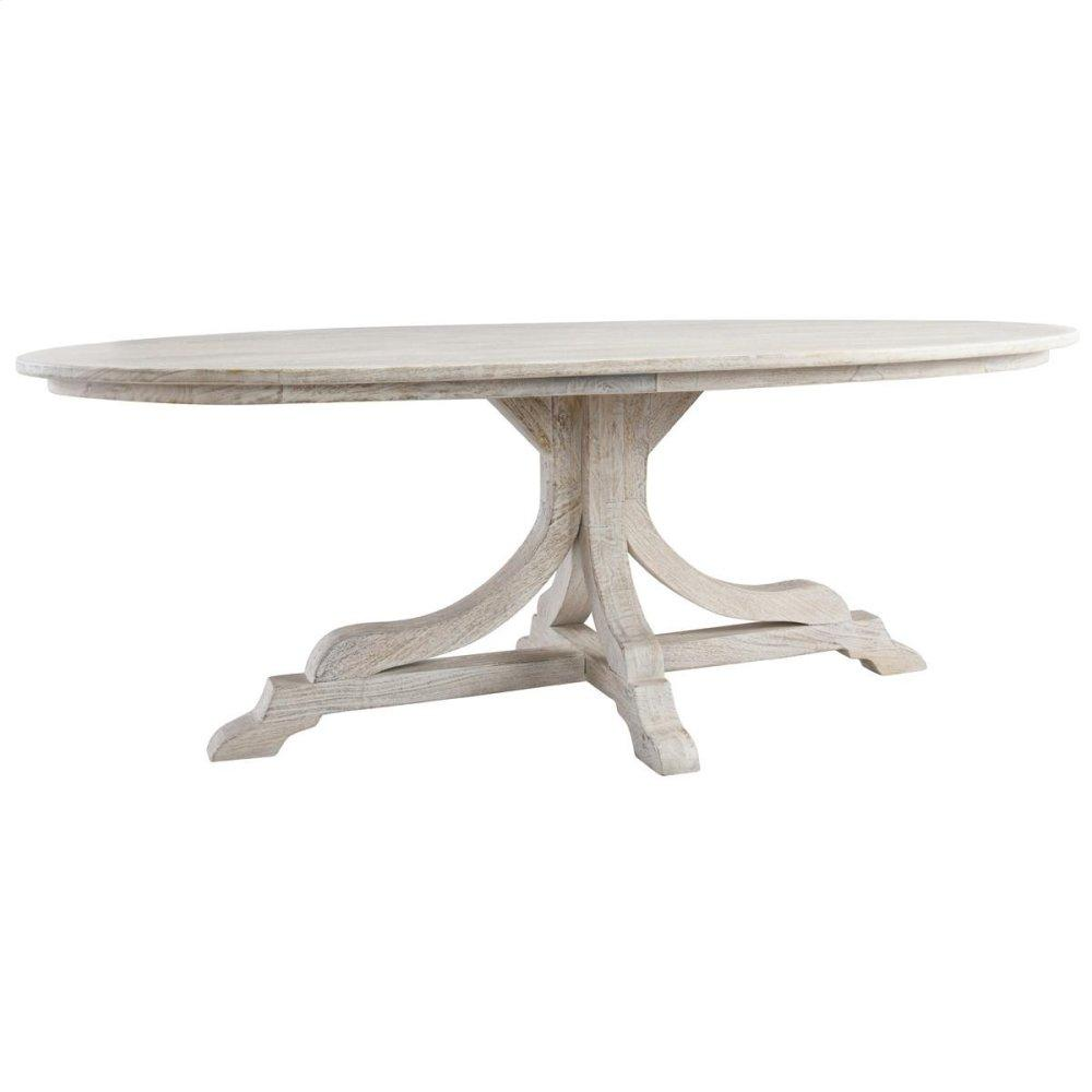 "Aimee 84"" Oval Dining Table Pearl"