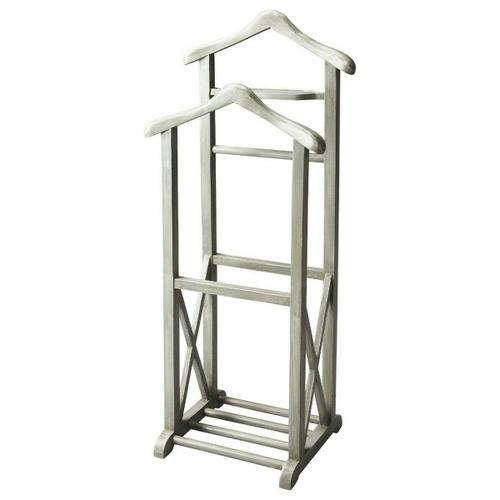 This Valet Stand, crafted from select solid woods and wood products, is as fashionable as it is functional in our Gray Dawn finish with the X-shaped lower side supports descending to the base anchored by four roads. It features a place to hang a coat, a shirt, pants and ties as well as a tray for keys, wallet, watch, pocket change and cufflinks.