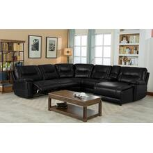 Barrington Right Facing Chaise Leather Gel Sectional in Black