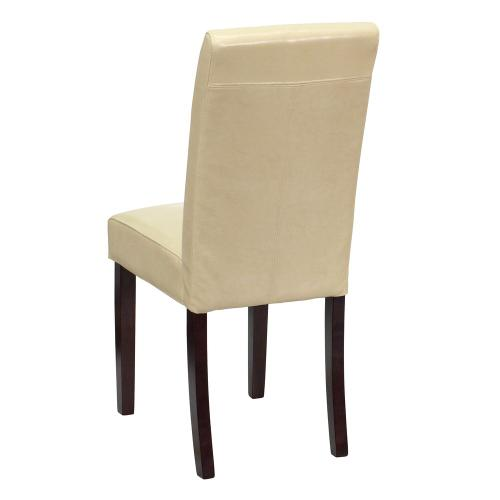 Ivory Leather Parsons Chair