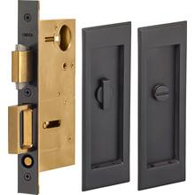 Pocket Door Lock with Traditional Rectangular Trim featuring Turnpiece and Emergency Release in (US10B Black, Oil-Rubbed, Lacquered)