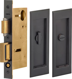 Pocket Door Lock with Traditional Rectangular Trim featuring Turnpiece and Emergency Release in (US10B Black, Oil-Rubbed, Lacquered) Product Image