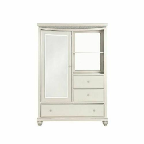ACME Maverick Armoire - 31814 - Glam - Wood (Poplar), MDF - Platinum