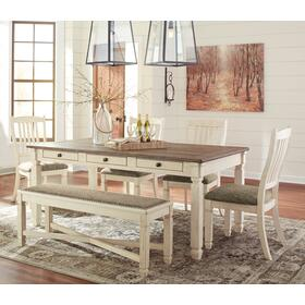 Bolanburg Table & 4 Chairs & Bench Antique White