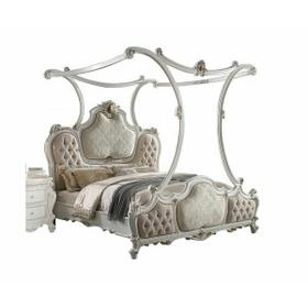 ACME Picardy Eastern King Bed (Canopy) - 28207EK - Traditional, Vintage - Fabric, Wood (Aspen/Poplar), Poly-Resin - Fabric and Antique Pearl