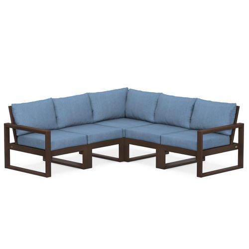 Polywood Furnishings - EDGE 5-Piece Modular Deep Seating Set in Mahogany / Sky Blue
