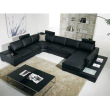 View Product - Divani Casa T35 - Modern Leather Sectional Sofa with Light