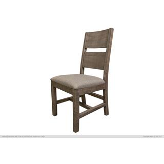 See Details - Solid Wood Chair w/ Gray Fabric Seat