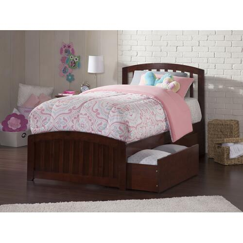 Richmond Twin Bed with Matching Foot Board with 2 Urban Bed Drawers in Walnut