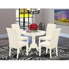 5Pc Dining Set Includes a Small Round Dinette Table and Four Parson Chairs with Cream Fabric, Linen White Finish
