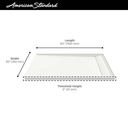 American Standard - Townsend 60x30-inch Solid Surface Shower Base - Right Drain  American Standard - Soft White