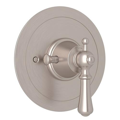 Satin Nickel Perrin & Rowe Georgian Era Round Thermostatic Trim Plate Without Volume Control with Georgian Era Solid Metal Lever
