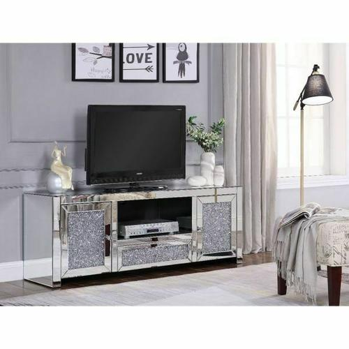 ACME Noralie TV Stand - 91450 - Mirrored & Faux Diamonds
