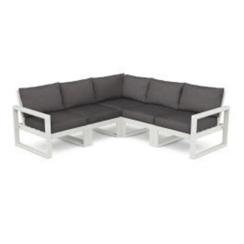 Polywood Furnishings - EDGE 5-Piece Modular Deep Seating Set in Vintage White / Ash Charcoal