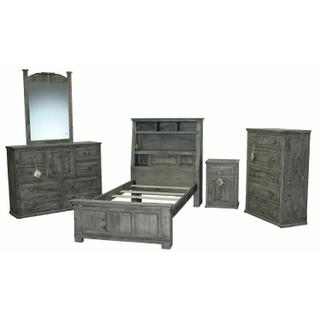 See Details - Charcoal Grey Jumbo Twin W/ Shelves W/ Econo Case Goods