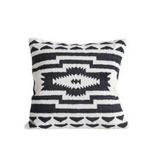 "See Details - 24"" Square Cotton Kilim Pillow, Black & Natural"