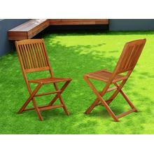 Solid Acacia Wooden Patio folding side Chair -Set of two