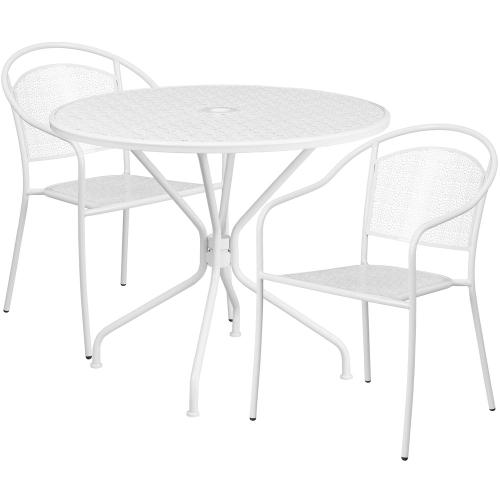 35.25'' Round White Indoor-Outdoor Steel Patio Table Set with 2 Round Back Chairs