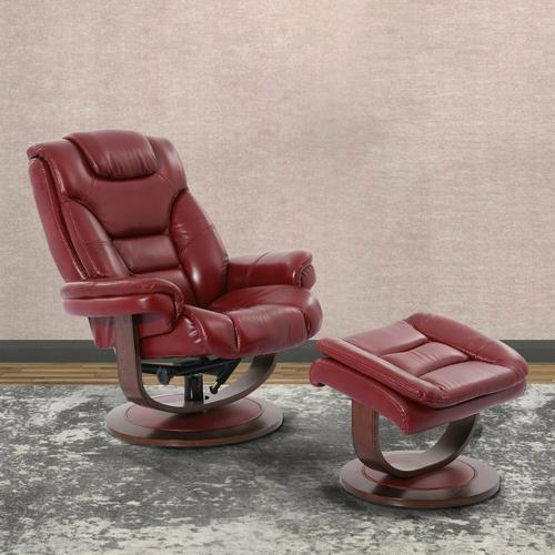 MONARCH - ROUGE Manual Reclining Swivel Chair and Ottoman