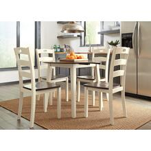 5 PIECE SET (DROP LEAF TABLE AND 4 SIDE CHAIRS)