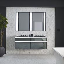 """Profiles 30-1/8"""" X 7-1/2"""" X 21-3/4"""" Modular Vanity In Matte White With Polished Nickel Finish, False Front Drawer and Selectable Night Light In 2700k/4000k Temperature (warm/cool Light); Vanity Top and Side Kits Not Included"""