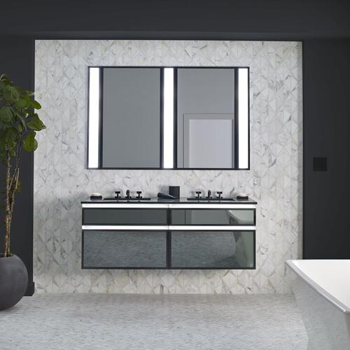 "Profiles 30-1/8"" X 15"" X 18-3/4"" Modular Vanity In Tinted Gray Mirror With Polished Nickel Finish and Slow-close Full Drawer"