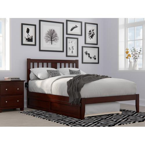 Atlantic Furniture - Tahoe Full Bed with USB Turbo Charger and Twin Trundle in Walnut