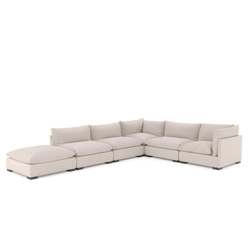 With Ottoman Configuration Bayside Pebble Cover Westwood 5 Piece Sectional