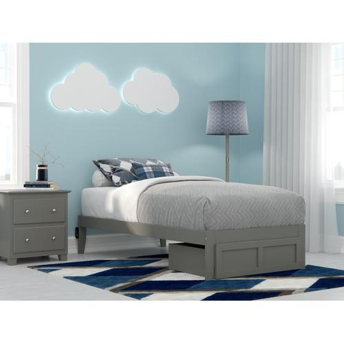Atlantic Furniture - Colorado Twin Bed with Foot Drawer and USB Turbo Charger in Grey