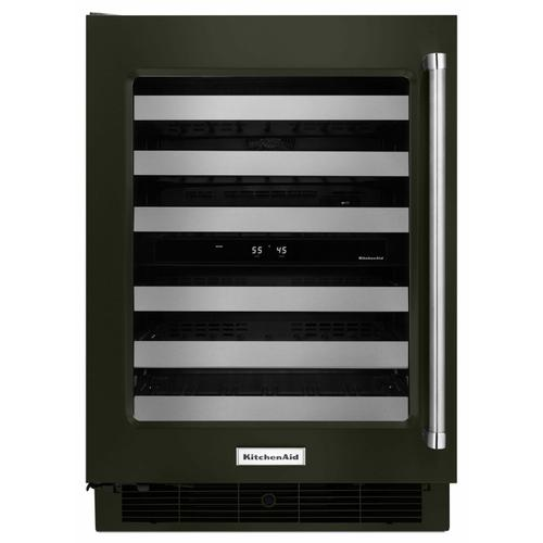 """KitchenAid - 24"""" Wine Cellar with Glass Door and Metal-Front Racks - Black Stainless Steel with PrintShield™ Finish"""