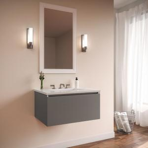 """Curated Cartesian 24"""" X 15"""" X 21"""" Single Drawer Vanity In Matte Gray Glass With Slow-close Plumbing Drawer and Engineered Stone 25"""" Vanity Top In Quartz White (silestone White Storm) Product Image"""
