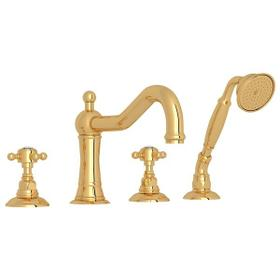 Italian Brass Acqui 4-Hole Deck Mount Column Spout Tub Filler With Handshower with Crystal Cross Handle