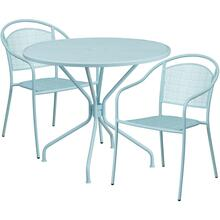 35.25'' Round Sky Blue Indoor-Outdoor Steel Patio Table Set with 2 Round Back Chairs