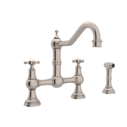 U4755xstn2 In Satin Nickel By Rohl In New Milford Ct Satin Nickel Perrin Rowe Edwardian Bridge Kitchen Faucet With Sidespray With Cross Handle