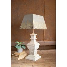 See Details - table lamp with painted wooden base and rectangle metal shade