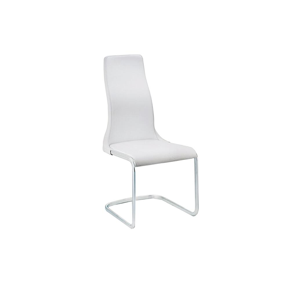 The Vero Dining Chair In White Leather With Chrome Plated Base