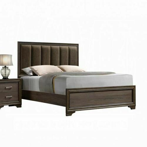 ACME Cyrille Eastern King Bed (Padded HB) - 25847EK - Fabric & Walnut