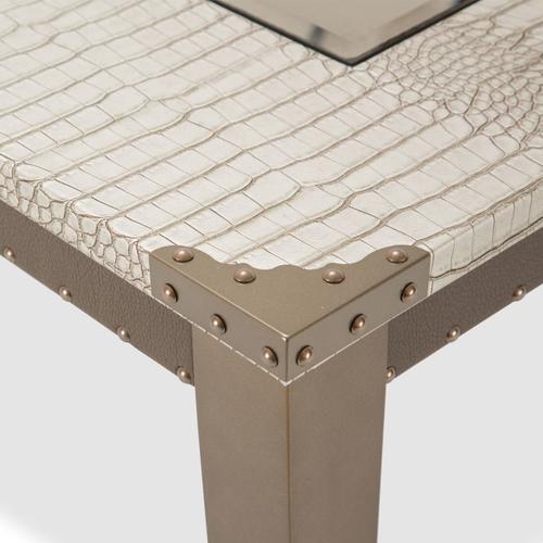 4 Leg Retangular Dining Table W/glass Inserts (includes: 1 - 24 Leaf)