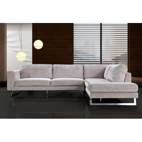 VIG Furniture - Divani Casa Milano - Modern Fabric Cream Right Facing Sectional Sofa