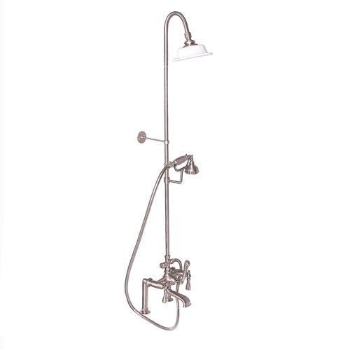 Tub Filler with Diverter Hand-Held Shower and Riser - Lever / Brushed Nickel